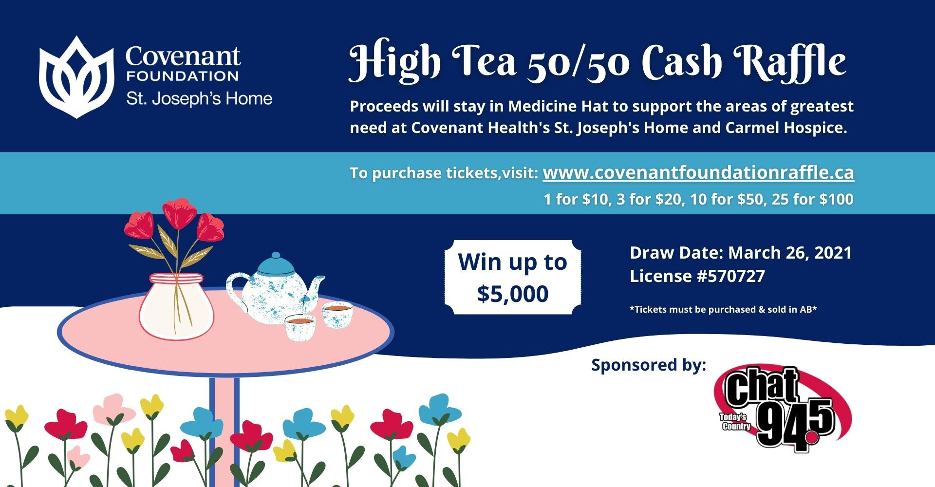 Tickets are on sale now for the High Tea 50/50 cash raffle
